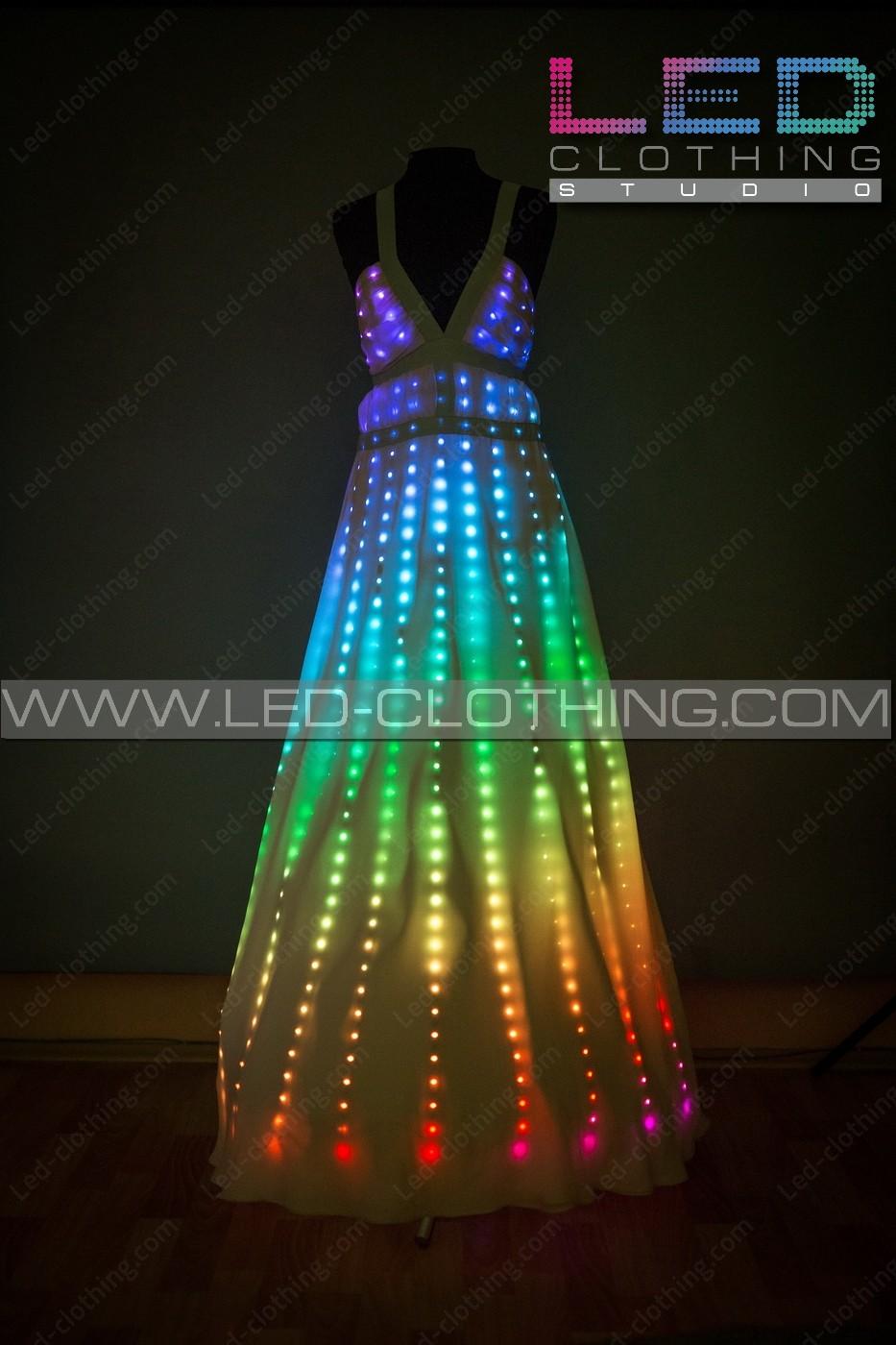 Digital Pixel Aurora Led Dress With Wireless Control Led