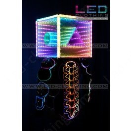 Motorcycle LED jacket with LED cube helmet