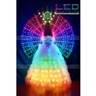 Digital LED dress with backside wings and wireless control
